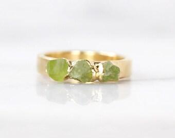 green peridot ring   raw peridot stacking ring   august birthstone jewelry   august birthstone ring   raw stone ring   rough peridot ring