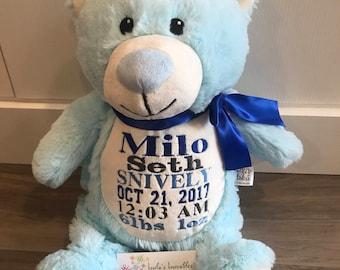 Embroidered Blue Bear Little Elska