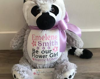New!  Lemur embroidered stuffed animal
