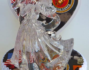 Wedding Cake Topper USMC U.S. Marine Corps Themed Clear Couple Dancing Bride Groom Marines Enlisted Military Pretty w/ Bridal Garter Unique