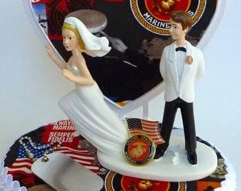 Wedding Cake Topper USMC US Marine Corps Themed Runaway Bride Dog Tags Flag Heart Humorous Funny Groom's Top w/ Bridal Garter Centerpiece