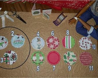 Set of FOUR Designer HOLIDAY  Paper Plates for Barbie or Similar Size Doll