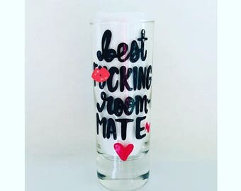 Mature- best f*cking roommate shot glass mug- gifts for roommates- christmas gift-Bestie coffee mug - besties handpainted coffee mug- love y