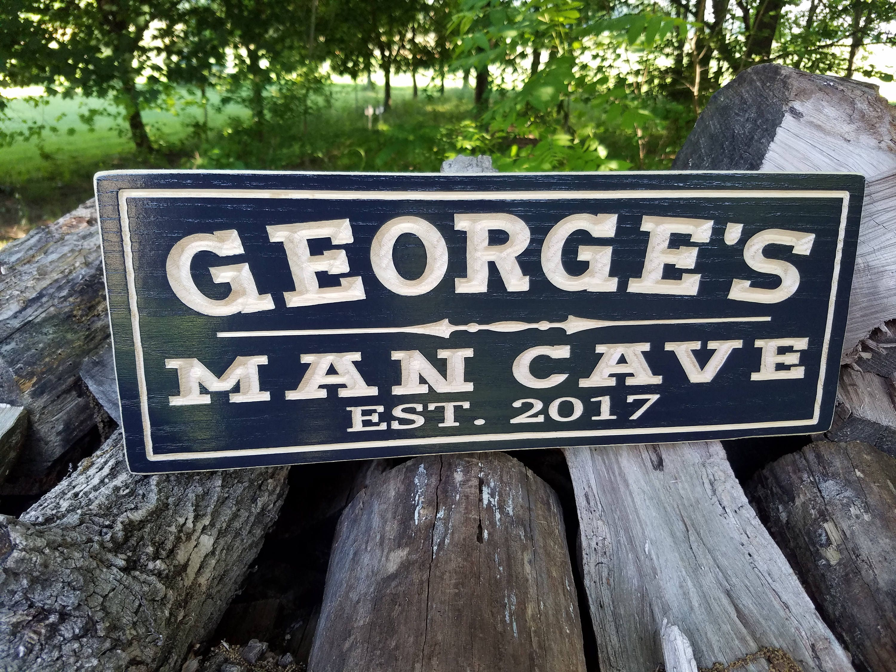 man cave personalized wooden carved sign father 39 s day gift. Black Bedroom Furniture Sets. Home Design Ideas