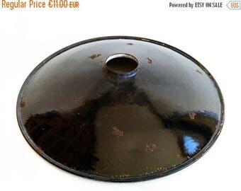 ON SALE Enamel Lamp Shade, Vintage Industrial Style, Rustic Decor