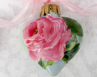 Pink Rose Heart Ornament ~ February Birthday ~ Handpainted Roses ~ Shabby Rose Ornament ~ Sweetheart Gift