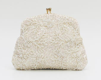 Ivory Floral Bead and Sequin Bridal Clutch - Vintage 1960s Beaded Evening Bag