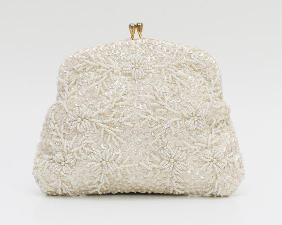 Vintage 1960s Ivory Floral Bead and Sequin Bridal Clutch