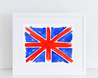British Flag Art Print // Union Jack flag, UK illustration, English souvenir, travel gifts, home decor, London gift, watercolor painting