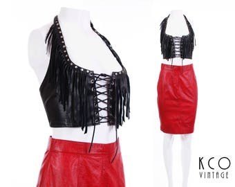 Vintage Black Leather Fringe Crop Top Metal Studs Corset Halter Rocker Biker Babe Festival Clothing Women's Size XS