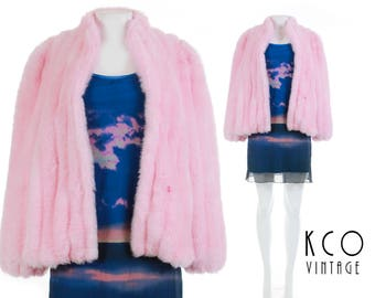 90s Vintage Pastel Pink Faux Fur Coat Plush Winter Jacket Club Kid Kawaii Retro Clothing Made in the USA Women's Size Medium