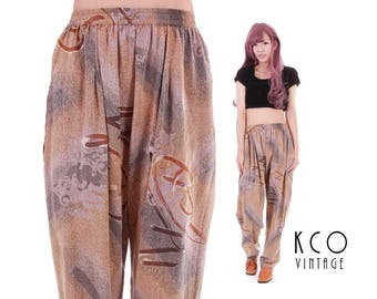 Vtg Baggy Tapered Rayon Pants High Waisted Abstract Earth Tone Trousers Hammer Harem 80s 90s Vintage Clothing Women's Size SMALL