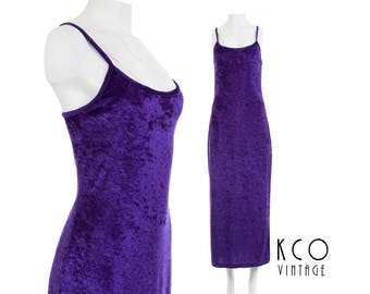 90s Crushed Velvet Dress Maxi Dress Bodycon Dress 90s Grunge Clothing Shiny Purple Stretch Velvet Dress Vintage Clothing Women's Size SMALL