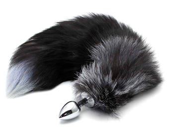 Fox Tail Butt Plug - Black & Gray Stainless Steel with Large Faux Fox Tail Cosplay Anime Sexy Cute Animal Furry Mature