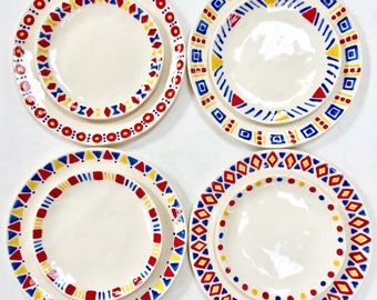 1 SET ONLY, Ready to Ship, Fun, Playful, Dinnerware, Primary Colors, Red Yellow Blue, Mix Match, Tableware, Artisan, Ceramic, Party, Dishes