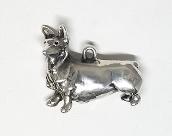 Sterling Silver Corgi Dog Pendant