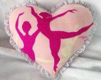 Ballerina Girl Heart Fleece Pillow Handmade
