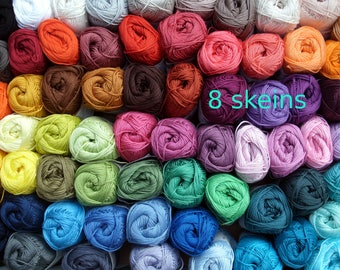 8, cotton crochet yarn, Catania, 400 gram in total, each 50 g, pick your colors, now 85 colors, amigurumi, lalylala, granny square, smc