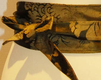 107 khaki floral satin jacquard fabric tie belt