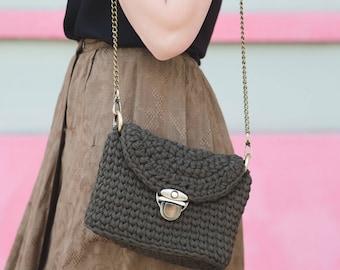 Crossbody Bag / Crochet Clutch / Cross Body Case / Crochet Shoulder Bag / Cotton Khaki Crossbody / Summer Crochet Bag with Chain Handle