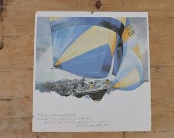 Vintage Maritime Print - 4 French Sailing Prints Mid Last Century - Nautical Art