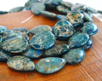 "15"" 25mm Aqua Terra Jasper Dark Blue flat drop gemstone Beads - snakeskin - Impression stone - Half / Full strand"