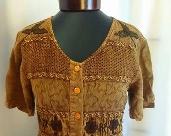 Shop closing Vintage summer dress Cinnamon brown summer dress size small