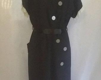 SPRING SALE 60% off Vintage 50s secretary dress black/blue day dress lace dress madmen dress vintage dresses womens clothing size Large
