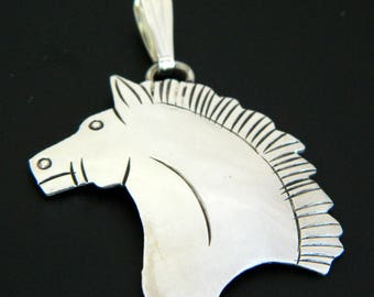 Navajo Native American Sterling Silver Horse Handmade Pendant Signed Louise Yazzie