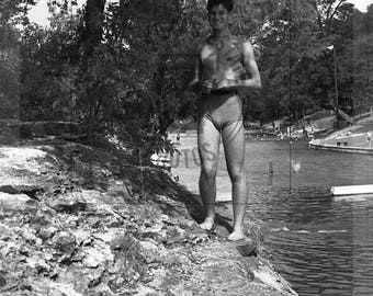 1940's Image of Young Man University Student Standing on Shore at Barton Springs, Austin, TX- Digital Download from Negative Scan