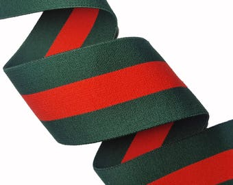 Green Red Striped Gucci Style Rubber Elastic Trim