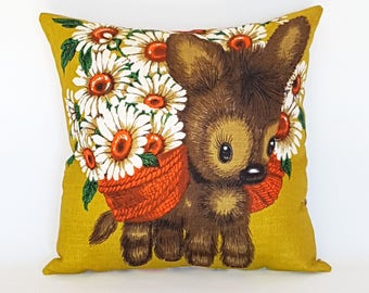 Kitsch cushion cover Retro donkey and daisies pillow Vintage decor