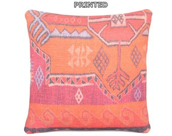 18x18 modern decorative pillow wholesale throw pillow transitional kilim pillow paternal pillow cover handcrafted pillow case pink rug 60-45