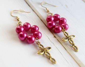 Cross Earrings   Earrings With Cross, Gift-For-Mother, Pink Earrings For Her, Earrings For Best Friend, Beaded Earrings, Gift For Mom