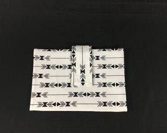 Black and White Arrow Diaper Clutch