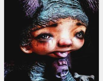 "SALE-Hand Made collectible art doll-sculpture-OOAK clayArt doll creepy cute-""Dante, naughty little devil"""