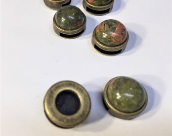 1 Unakite Gemstone 10mm Flat Brass Slider Leather, bracelet finding, jewelry supplies