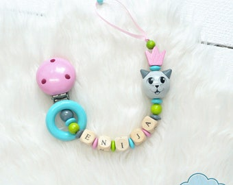 Personalize Pacifier Holder, Dummy Chain, Baby pacifier clip, Wooden pacifier clip