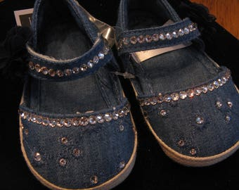 SWAROVSKI DENIM BABY Girl Shoes-Size 0-3 Months-Clear Swarovski-Sparkle Up Your Baby's Tooties!-Baby Bling