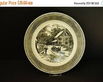 """On Sale Royal China Jeannette Scenic Pie Plate - """"Holiday Time"""""""