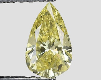 See Video - GIA Certified 0.34ctw Untreated Natural Diamond Pear Fancy Intense Yellow Loose