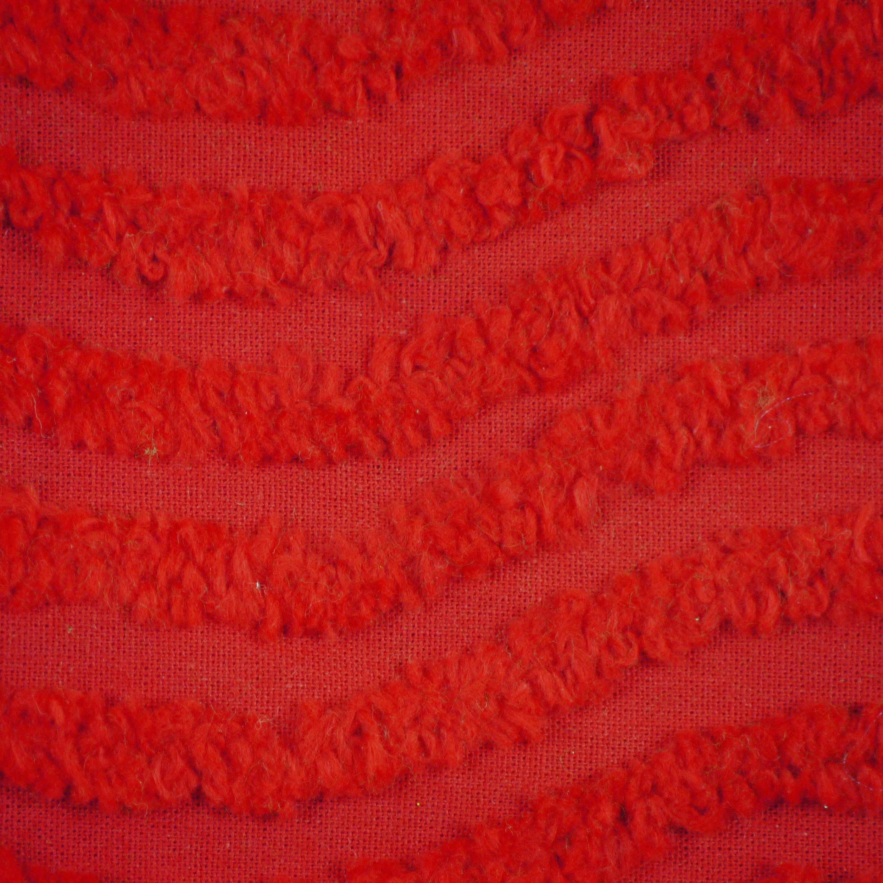 Christmas Red Chenille Cotton Fabric Cut Piece Daisy