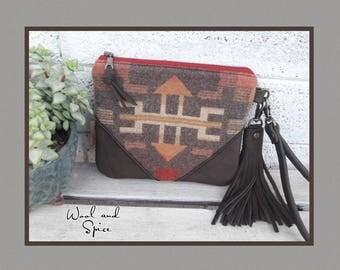 Wristlet, Genuine Leather, Pendleton Wool, Tribal, Cotton Lining, Zipper Pouch, Wrist Strap, Clutch, Earth Tones
