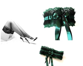 Garter in green lace and black tulle