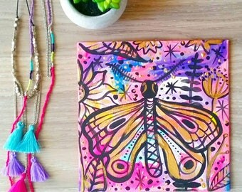 Original colourful pink gold abstract moth butterfly painting one of a kind Original Art Australian Artist