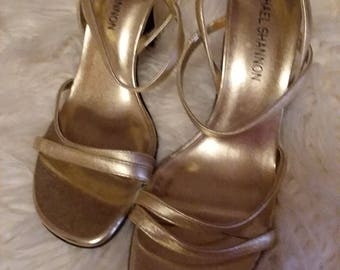 Strappy  gold high heels