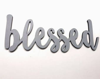 Blessed Laser Cut Wood Word, Wood Sign, Living Room Decor, Farmhouse Decor, Home Decor, Spiritual Decor