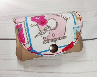 'Patches' beige pink purse-pink