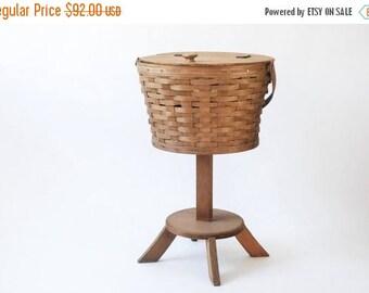 SALE wood basket, woven wood basket, wood storage basket, sewing basket, wood basket with lid, handle, vintage