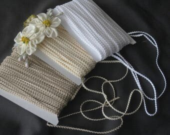 "Miniature Braid / Trim 1/8""- - White, Ivory or Ecru  - Perfect for Dolls, Teddy Bears, Crafts, Sewing, Miniatures"